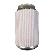 The Coral Palms® Reversible Seersucker & Jute 12oz Velcro Can Wrap - LIGHT PINK - CLOSEOUT