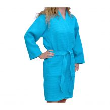 """Cotton Waffle Juniors 36"""" Knee-Length Robe Embroidery Blanks - TROPICAL BLUE"""