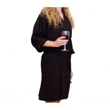 """Cotton Waffle 36"""" Knee-Length Robe Embroidery Blanks - BLACK"""