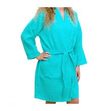 """Cotton Waffle 36"""" Knee-Length Robe Embroidery Blanks - CARIBBEAN GREEN"""