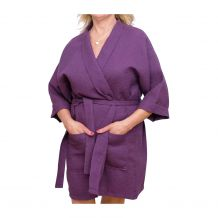 """Cotton Waffle 36"""" Knee-Length Robe Embroidery Blanks - PLUM"""
