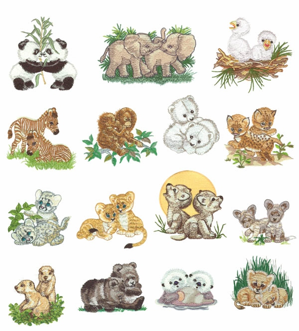 Morehead Baby Animals Two By Two Embroidery Designs The