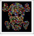 "Skull - Multi-Colored Crystals 4""x4"" Iron-On by Mark Richards CLOSEOUT"