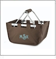 Mini Foldable Market Tote Embroidery Blanks - BROWN - CLOSEOUT