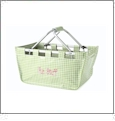 Foldable Market Tote Embroidery Blanks - LIME CHECKER VINYL - CLOSEOUT