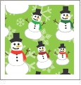Snowmen & Snowflakes - Green - Winter Holiday - QuickStitch Embroidery Paper - One 8.5in x 11in Sheet