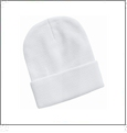 "12"" Solid Knit Beanie Embroidery Blanks - White"