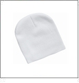 "8"" Knit Beanie Embroidery Blanks - White"