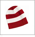 Rugby Striped Knit Beanie Embroidery Blanks - Cardinal/White