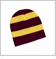 Rugby Striped Knit Beanie Embroidery Blanks - Maroon/Gold