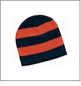 Rugby Striped Knit Beanie Embroidery Blanks - Navy/Orange - CUSTOMER RETURN