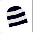 Rugby Striped Knit Beanie Embroidery Blanks - Navy/White