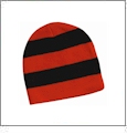Rugby Striped Knit Beanie Embroidery Blanks - Orange/Black