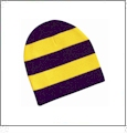 Rugby Striped Knit Beanie Embroidery Blanks - Purple/Gold
