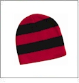 Rugby Striped Knit Beanie Embroidery Blanks - Red/Black