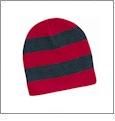 Rugby Striped Knit Beanie Embroidery Blanks - Red/Charcoal
