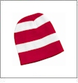 Rugby Striped Knit Beanie Embroidery Blanks - Red/White