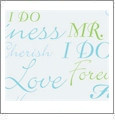 Wedding - Blue & Green - QuickStitch Embroidery Paper - One 8.5in x 11in Sheet - CLOSEOUT