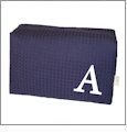 Large Cotton Waffle Cosmetic Bag Embroidery Blanks - NAVY