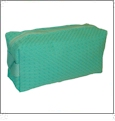 Cotton Waffle Cosmetic Bag Embroidery Blanks - CARIBBEAN GREEN