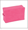 Large Cotton Waffle Cosmetic Bag Embroidery Blanks - FUCHSIA