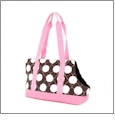 Quilted Super Jumbo Dots Pet Carrier Embroidery Blanks For Pets - Brown with Light Pink