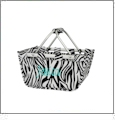 Mini Foldable Market Tote Embroidery Blanks - ZEBRA