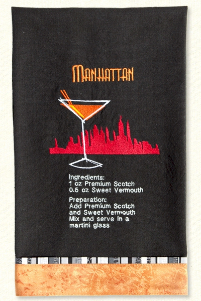 Cocktail Recipe Towels Embroidery Designs By Lunch Box