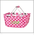 Mini Foldable Market Tote Embroidery Blanks - PINK/WHITE DOT