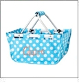 Mini Foldable Market Tote Embroidery Blanks - AQUA/WHITE DOT - ETA5/10