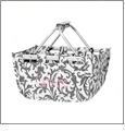 Mini Foldable Market Tote Embroidery Blanks - GREY FLORAL - CLOSEOUT