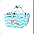 Mini Foldable Market Tote Embroidery Blanks - AQUA CHEVRON