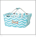 Foldable Market Tote Embroidery Blanks - AQUA CHEVRON