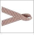 "Gingham Cappuccino and White Ribbon - 7/8"" x 1 Yard"