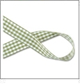 "Gingham Moss Green and White Ribbon - 7/8"" x 1 Yard"