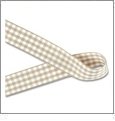 "Gingham Khaki and White Ribbon - 7/8"" x 1 Yard"