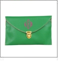 Leatherette Envelope Clutch Purse Embroidery Blank With Detachable Gold Shoulder Chain - KELLY GREEN
