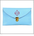 Leatherette Envelope Clutch Purse Embroidery Blank With Detachable Gold Shoulder Chain - LIGHT BLUE