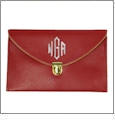 Leatherette Envelope Clutch Purse Embroidery Blank With Detachable Gold Shoulder Chain - RED