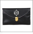 Leatherette Envelope Clutch Purse Embroidery Blank With Detachable Gold Shoulder Chain - BLACK
