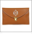Leatherette Envelope Clutch Purse Embroidery Blank With Detachable Gold Shoulder Chain - BROWN