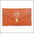 Leatherette Envelope Clutch Purse Embroidery Blank With Detachable Gold Shoulder Chain - ORANGE