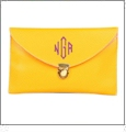 Leatherette Envelope Clutch Purse Embroidery Blank With Detachable Gold Shoulder Chain - YELLOW
