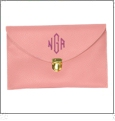 Leatherette Envelope Clutch Purse Embroidery Blank With Detachable Gold Shoulder Chain - LIGHT PINK