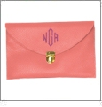 Leatherette Envelope Clutch Purse Embroidery Blank With Detachable Gold Shoulder Chain - SALMON