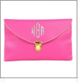 Leatherette Envelope Clutch Purse Embroidery Blank With Detachable Gold Shoulder Chain - HOT PINK