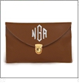 Leatherette Envelope Clutch Purse Embroidery Blank With Detachable Gold Shoulder Chain - DARK BROWN