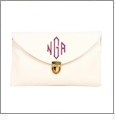 Leatherette Envelope Clutch Purse Embroidery Blank With Detachable Gold Shoulder Chain - WHITE