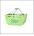 Mini Foldable Market Tote Embroidery Blanks - LIME/WHITE DOT