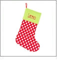 Chistmas Stocking Embroidery Blanks - Red/White Polka Dot CLOSEOUT